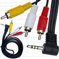 Шнур аудио-видео, штекер 3.5мм 4C угловой (удлинённый) - 3 штекера RCA, 1.8м, чёрный в упаковке