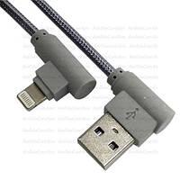 Шнур, штекер USB А угловой - штекер Iphone 6 угловой, в сетке, 1м, серый