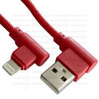 Шнур  штекер USB А угловой - штекер iPhone 6 угловой, в сетке, 1м, красный