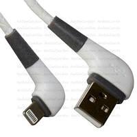 Шнур  штекер USB А угловой - штекер iPhone 6 угловой, прорезиненный, 1м, белый