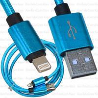 Шнур штекер USB А - штекер Iphone 6, Ø4.5мм, 1м, синий