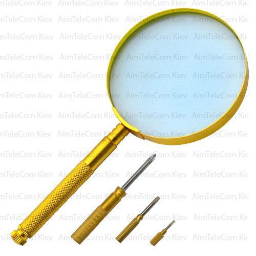 Лупа ручна Zhongdi MG18150 кругла, металлическаа ручка, gold, 3X, Ø90мм