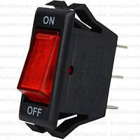 Переключатель узкий с подсветкой IRS-1-7A ON-OFF, 3pin, 10A, 220V, красный