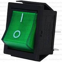 Переключатель широкий с подсветкой IRS-201-1С (ON-OFF), 4pin, 15A, 220V, зелёный