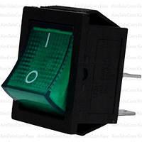 Переключатель широкий с подсветкой KCD-4, ON-OFF, 4pin, 15A, 220V, зелёный
