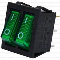 Переключатель двойной с подсветкой IRS-2101-1А ON-OFF, 6pin, 15A, 220V, зелёный