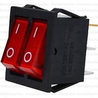 Переключатель двойной с подсветкой IRS-2101-1А ON-OFF, 6pin, 15A, 220V, красный