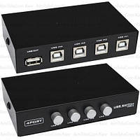 Соединитель USB (switch) MT-VIKI на 4 гнезда USB B (MT-1А4В-С)