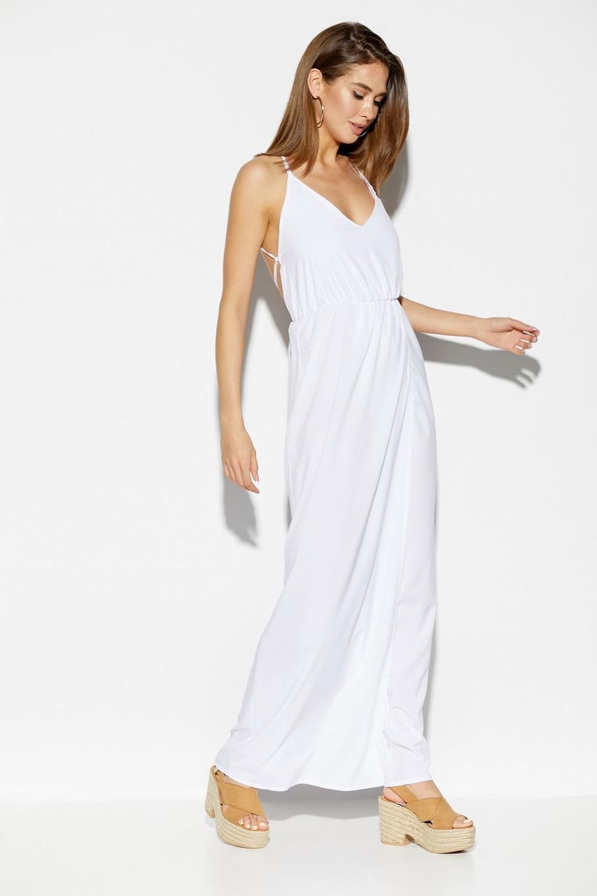 Женское летнее белое платье макси с открытой спиной, фото 1