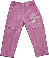 Брюки-бриджи сиреневые с вышивкой для девочки, рост 116 см, 122 см, 128 см, 134 см, ТМ Бемби