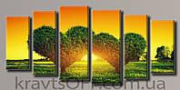 "Модульная картина на холсте из 6-ти частей ""Любимый закат"" ( 70х151.5 см )"