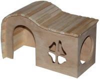 Домик деревянный Фигурная крыша 25*16*15 см