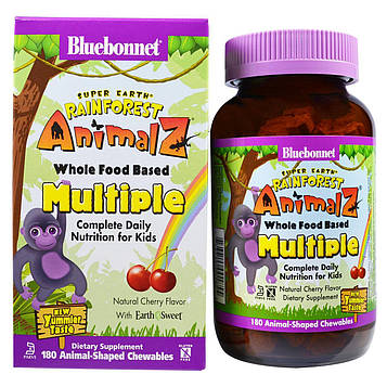 Bluebonnet Nutrition, Super Earth, Rainforest Animalz, продукты серии Whole Food, натуральный апельсиновый ароматизатор, 180 жевательных конфет