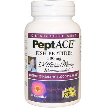 Natural Factors, пептиды рыбы, 500 мг, 90 Капсул