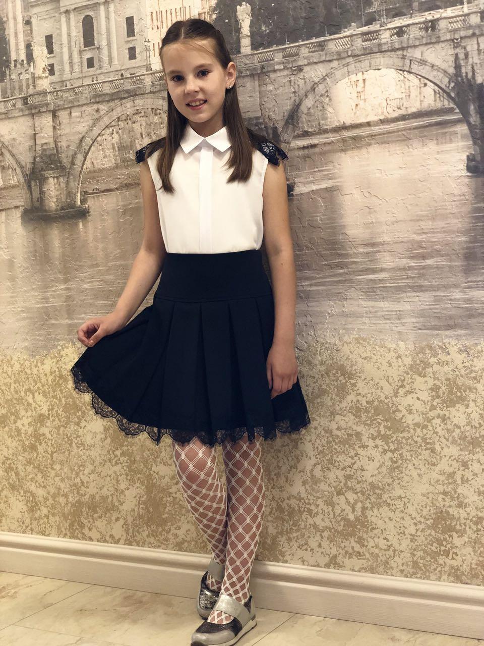 Школьная юбка с французким кружевом 19(синяя,черная)