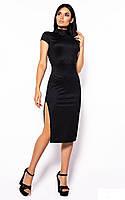 Стильное черное облегающее платье с разрезами, фото 1