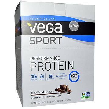 Vega, Протеиновый напиток, шоколад, 12 пакетиков, 1,6 унции (44 г) каждый