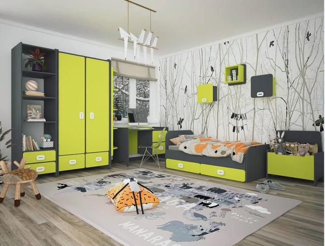 """На фото: детская мебель """"Немо"""" с детской кроватью, шкафом, пеналом, письменным столом"""