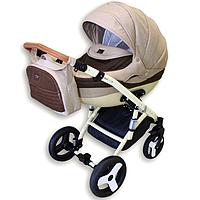 Детская коляска 2-в-1 Lumi (Люми лен) на пластиковой корзине беж с коричневым