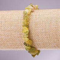 Браслет из натурального камня Жадеит крошка на резинке d- 5-8мм L-18см
