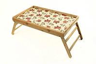 """Бамбуковый столик """"Кленовый лист"""" (50*30*24 см) раскладной , фото 1"""