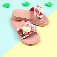 Пляжные шлепки с цветами Розовые р. 36,37,38,40