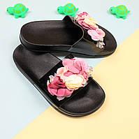 Пляжные шлепки с цветами Черные р. 38,39,40