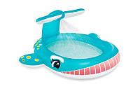 Детский надувной бассейн с душем кит, фото 1