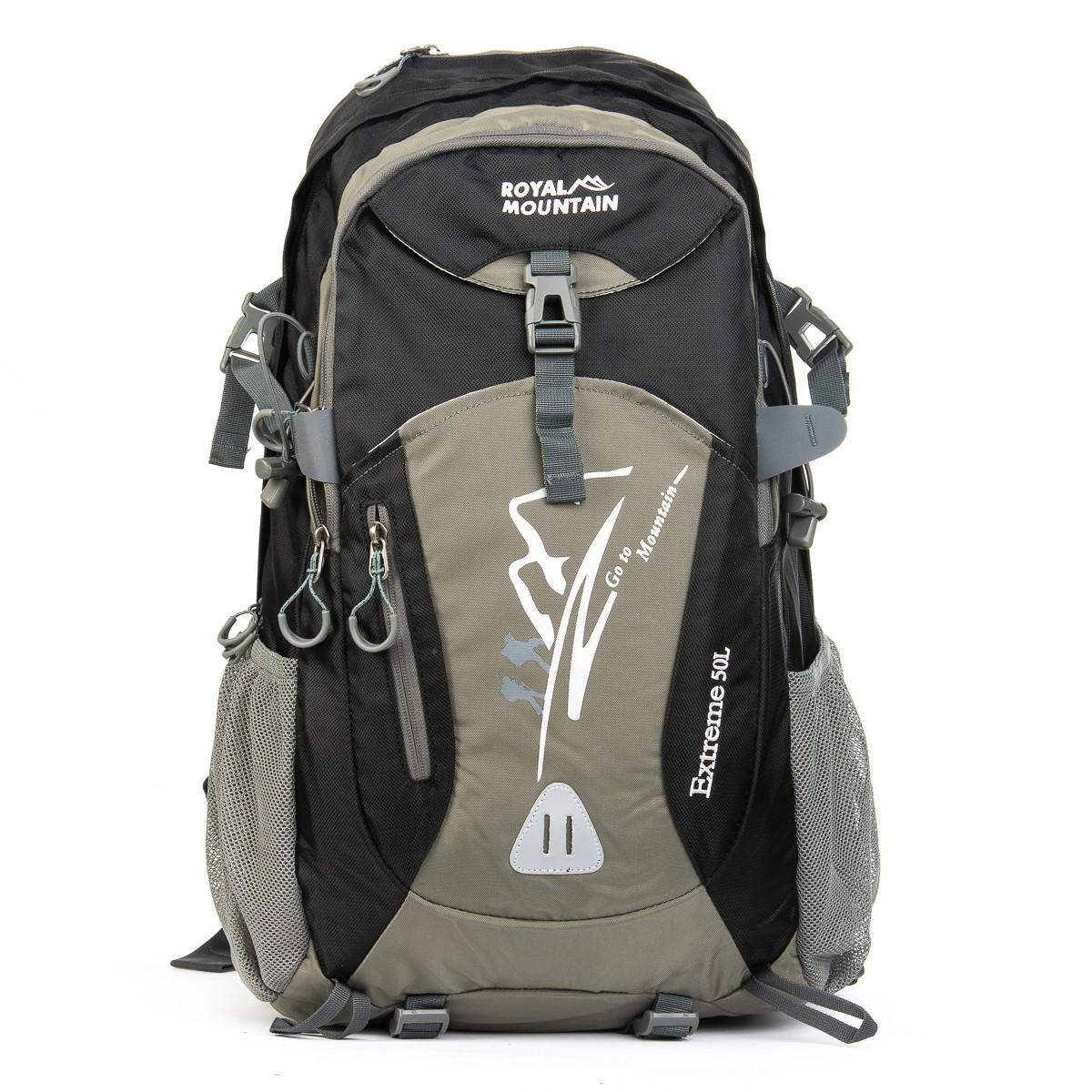Туристический рюкзак с жесткой спинкой нейлон Royal Mountain 1182 черный-серый