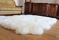 Ковер из 10-ти натуральных овечьих шкур, белого цвета 210*260