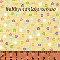 Ткань в горошек, желтый, разные цвета. Хлопок 100%. dot-multi-yellow