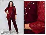 Брючный женский костюм одежда большого размера Размеры: 54.56.58.60.62 64.66, фото 2