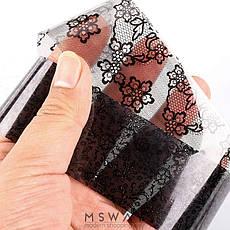 KATTi Фольга переводная 36 120 прозрачные с черным гипюром 20см, фото 3