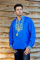 Синяя мужская вышиванка с тризубом желтого цвета из льна М22/1-293, фото 1