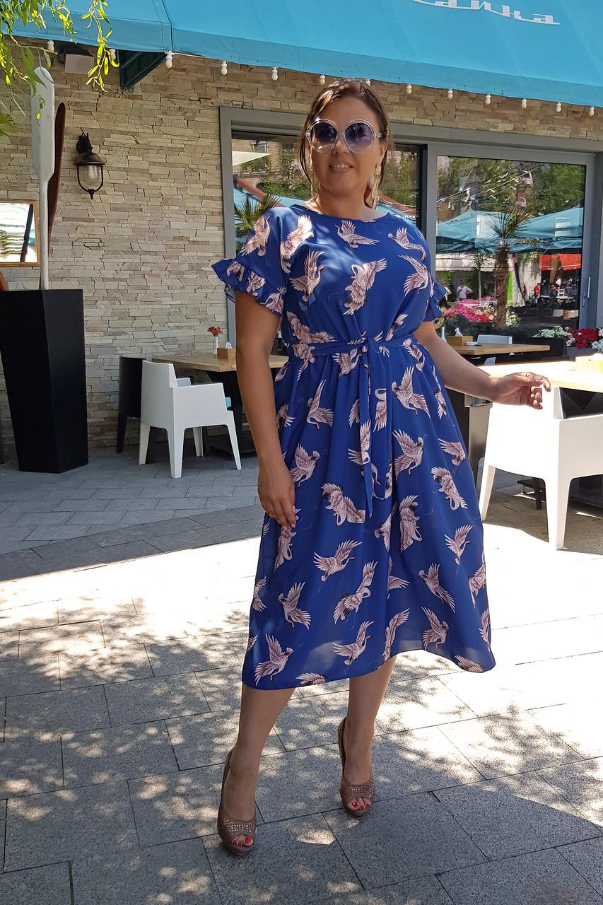 Стильное платье Птицы 04090
