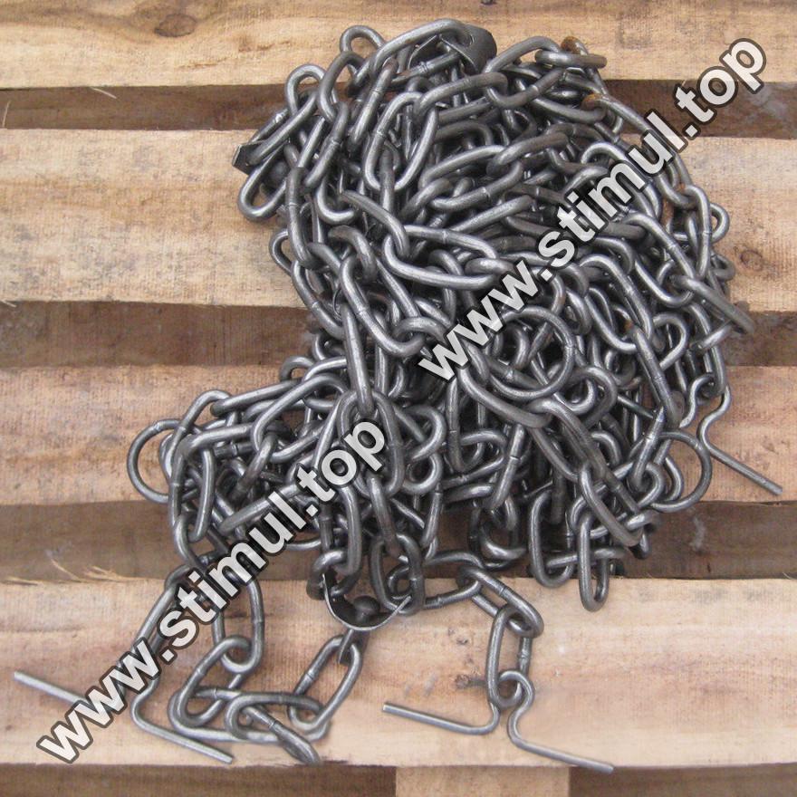 Ø 7 мм / Трёхконцевая цепь для привязи КРС / ВРХ / Скота / Коров