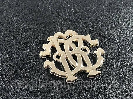 Пришивная металлическая эмблема резная цвет золото 26х25 мм, фото 2
