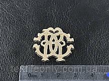 Пришивная металлическая эмблема резная цвет золото 26х25 мм, фото 3