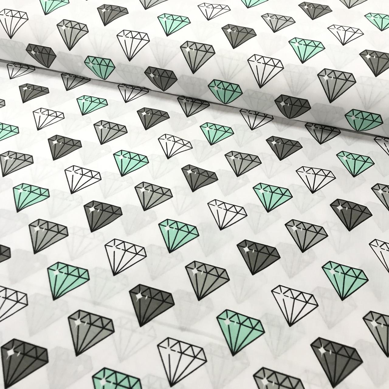 Хлопковая ткань польская, алмазы серые, белые, мятные на белом