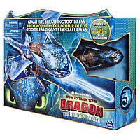 Интерактивный дракон Беззубик Дышит паром, светится Dreamworks Dragons, Giant Fire Breathing Toothless Оригина