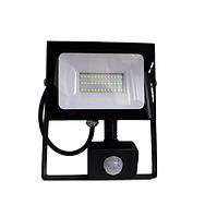 Светодиодный прожектор с датчиком движения, 30Вт 6500K, LMPS37, чёрный, фото 1