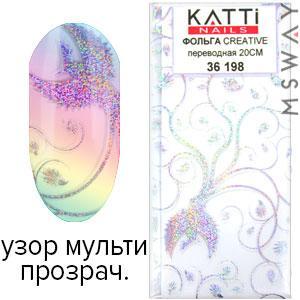 KATTi Фольга переводная 36 198 прозрачная с мульти блестящим узором феникс 20см