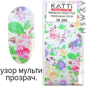 KATTi Фольга переводная 36 200 прозрачная с мульти узором сетка, цветы 20см