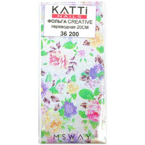 KATTi Фольга переводная 36 200 прозрачная с мульти узором сетка, цветы 20см, фото 2