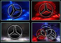 Светящаяся передняя эмблема, логотип, значок Mercedes/ Мерседес бенц синий