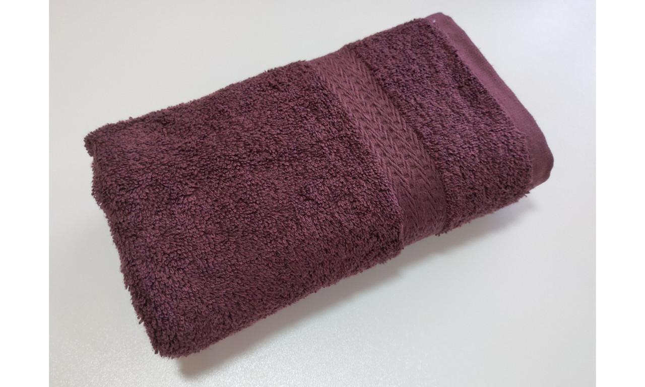 Полотенце махровое, бордюр, 70х140, цвет: коричневый