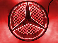 Светящаяся передняя эмблема, логотип, значок Mercedes/ Мерседес бенц красная