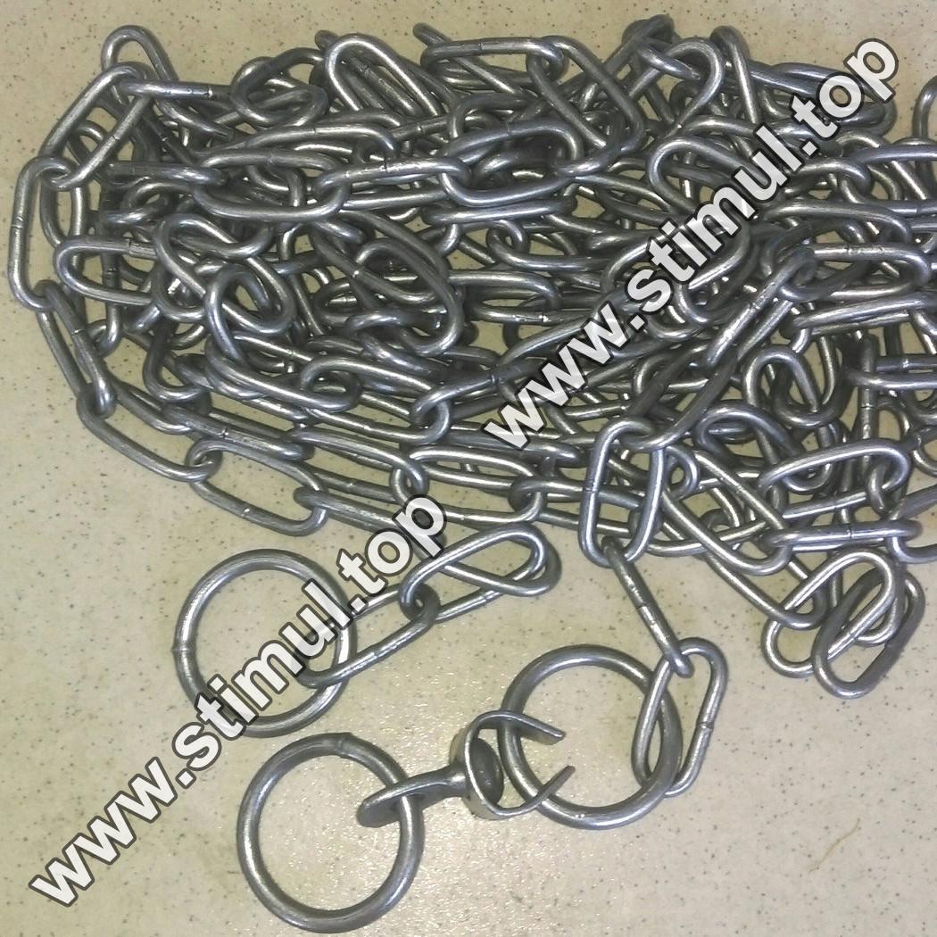 Ø 4 мм х 2 метра / цепь для собак (скота) привязочная / ланцюг з кільцем та вертлюгом