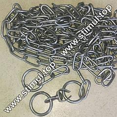 Ø 3 мм х 2 метра / цепь для собак (скота) привязочная / ланцюг з кільцем та вертлюгом