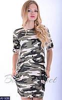 Платье женское футболка Камуфляж. Размер 42-46, цвет защитный. Ткань турецкая вискоза
